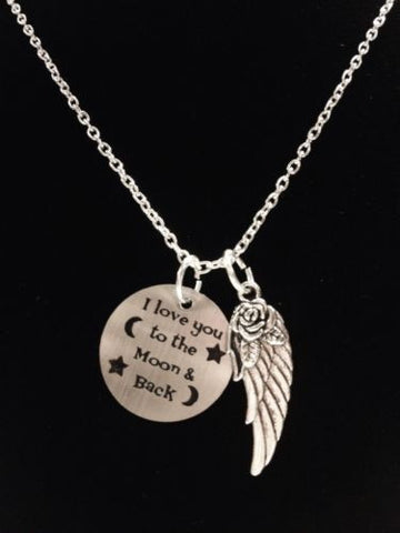 I Love You To The Moon And Back Angel Wing Heaven Best Friend Celestial Necklace