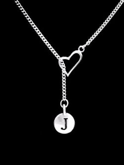 Choose Initial, Heart Letter Lariat Best Friend Sister Gift Necklace