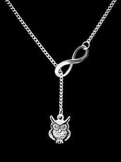 Owl Animal Nature Friend Sister Mother's Day Mom Infinity Lariat Gift Necklace