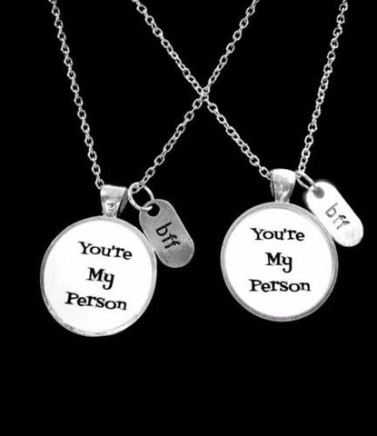 2 Necklaces You're My Person You Are My Person BFF Best Friend Friends Gift