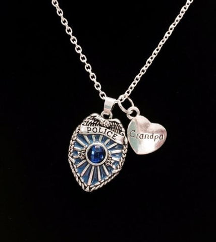 Blue Police Shield Badge Grandpa Heart Gift For Officer Charm Necklace