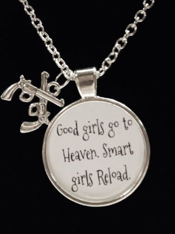 Woman Pro Gun Good Girls Go To Heaven Reload Shooter Pistol Charm Necklace