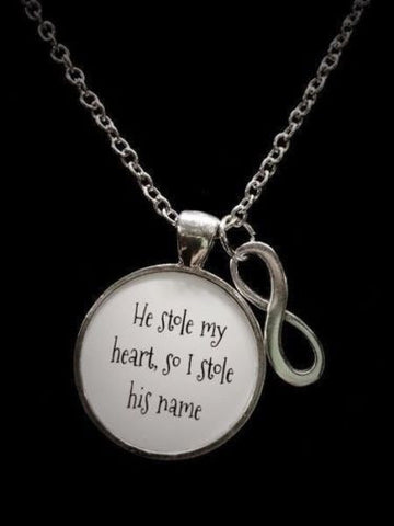 He Stole My Heart So I Stole His Name Infinity Love Wedding Quote Necklace