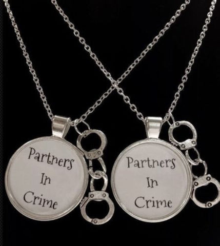 2 Necklaces Handcuff Partners In Crime Best Friends, Sisters, His And Hers