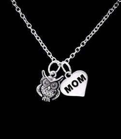 Owl Animal Nature Bird Mother's Day Mom Gift Mama Owl Necklace