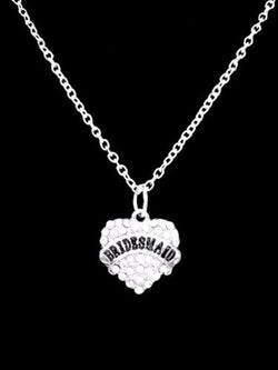 Crystal Bridesmaid Heart Wedding Party Gift Charm Necklace