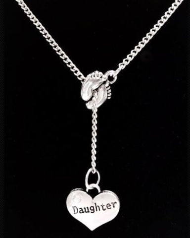 Baby Footprints Daughter, Baby Girl Gift Lariat Style Necklace
