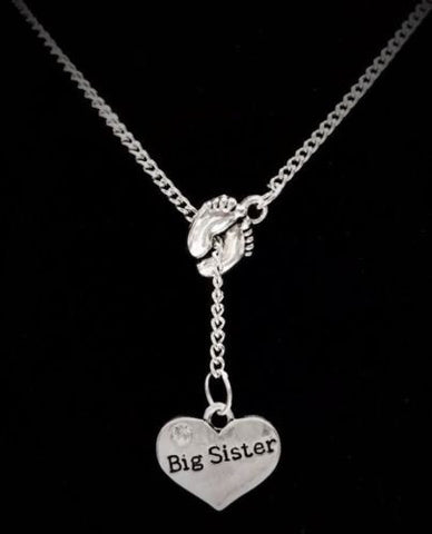 Baby Footprints Big Sister Gift Lariat Style Necklace