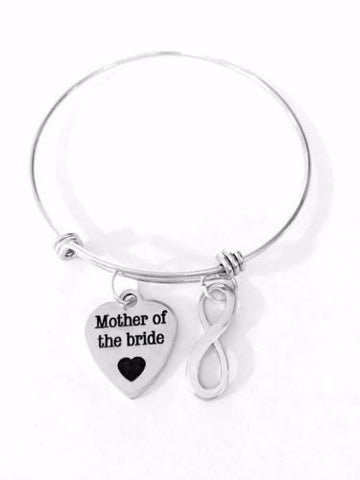 Adjustable Bangle Charm Bracelet Mother Of The Bride Gift Wedding Party Infinity
