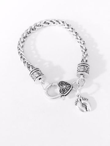 Baby Feet Valentine Mother's Day Gift Mother Daughter Wife Charm Bracelet
