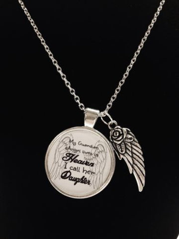 Guardian Angel Daughter In Heaven Wing Child Passed Away Quote Memory Necklace