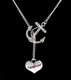 Anchor Daughter Heart Valentine's Day Gift Lariat Necklace