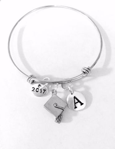 Initial Graduation Cap Class Of 2017 Gift Adjustable Bangle Charm Bracelet