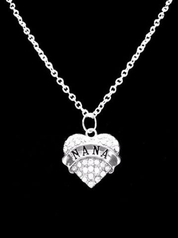 Crystal Nana Heart Mother's Day Gift For Grandmother Charm Necklace