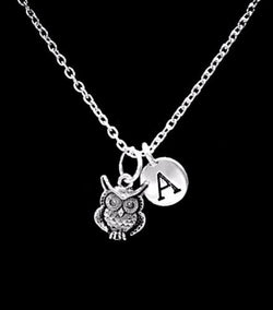 Choose Initial Owl Animal Nature Friend Sister Mother's Day Mom Gift Necklace