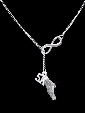5K Running Shoe Infinity Marathon Runner Track Sports Gift Lariat Necklace