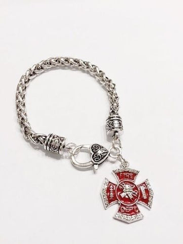 Red Maltese Cross Firefighter Fireman Wife Girlfriend Mom Sister Charm Bracelet