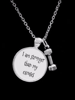 Dumbbell I Am Stronger Than My Excuses Sports Fitness Gift Necklace