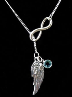 Birthstone Personalize Infinity Angel Wing In Memory Heaven Y Lariat Necklace