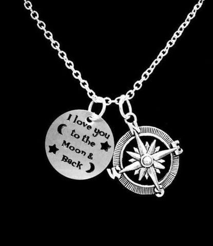 Compass I Love You To The Moon And Back Best Friends Sisters Mom Gift Necklace