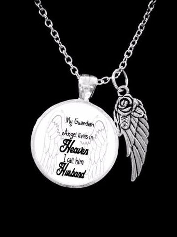 Husband Angel My Guardian Angel Lives In Heaven In Memory Remembrance Necklace
