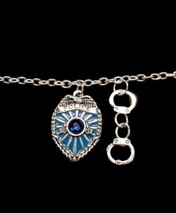 Blue Police Badge Shield Police Wife Handcuff Officer Charm Bracelet