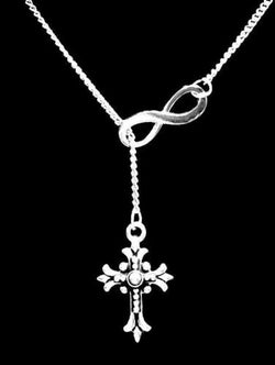 Fleur Cross Gift Christian Religious God Faith Charm Infinity Lariat Necklace