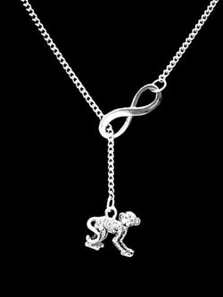 Monkey Animal Nature Friend Sister Mother's Day Mom Gift Lariat  Necklace