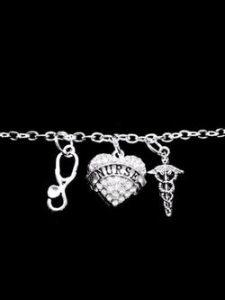 Crystal Nurse Heart Stethoscope Caduceus Cross Medical Gift Charm Bracelet