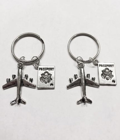 2 Keychains Airplane Passport Long Distance Best Friend Sisters Couple Set