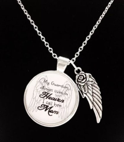 Guardian Angel Mom Mother In Heaven Wing Watch Over Me Quote Memory Necklace