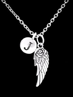 Choose Initial Letter Angel Wing In Memory Remembrance Sympathy Gift Necklace