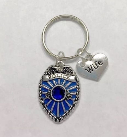 Blue Police Officer Badge Shield, Wife Heart Law Enforcement Gift Keychain