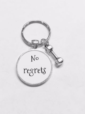 No Regrets Dumbbell Inspirational Fitness Gift Keychain
