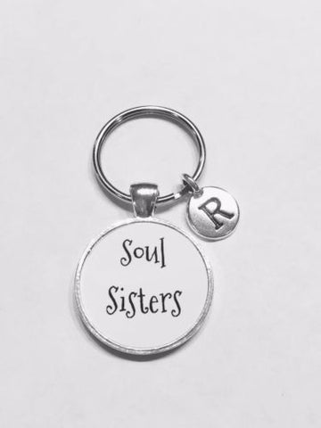 Choose Initial, Souls Sisters Gift BFF Best Friend Sister Friendship Keychain