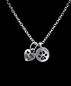 I Love My Dog Paw Print Fur Baby Animal Charm Necklace