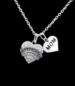 Crystal Firefighter Mom Heart Fireman Firefighters Charm Necklace