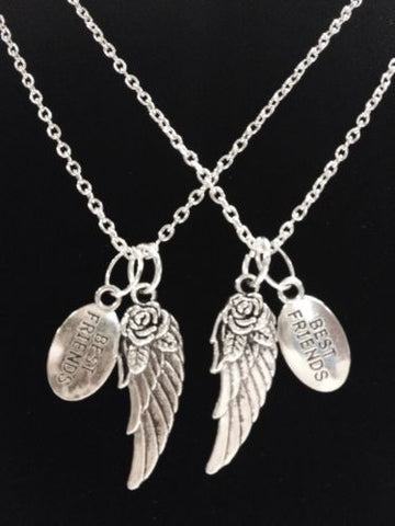Best Friends Angel Wing Gift 2 Necklace Set