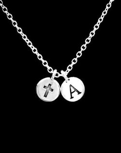 Choose Initial Letter Cross Christian Religious Faith Gift Necklace