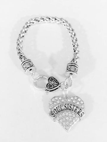 Soul Sisters Crystal Heart Mother's Day Gift For Best Friends Charm Bracelet