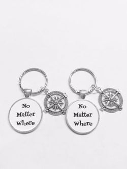 No Matter Where Compass Best Friends Sister Long Distance Gift Keychain Set