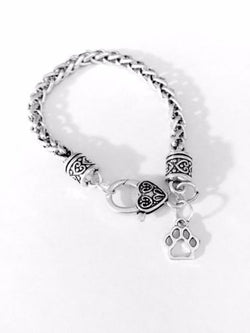 Paw Print Animal Lover Dog Cat Valentine Mother's Day Gift Charm Bracelet
