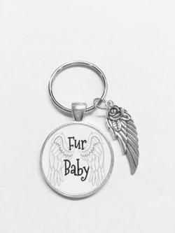 Fur Baby Animal Dog Cat In Memory Heaven Angel Wing Gift Keychain