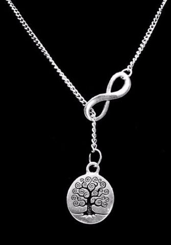 Infinity Tree Y Lariat Style Wisdom Life Knowledge Peace Necklace