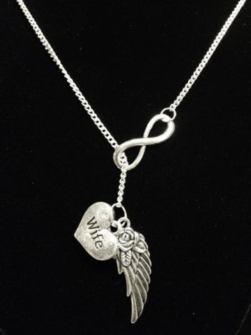 Infinity Guardian Angel Wife Wing In Memory Heaven Y Lariat Necklace
