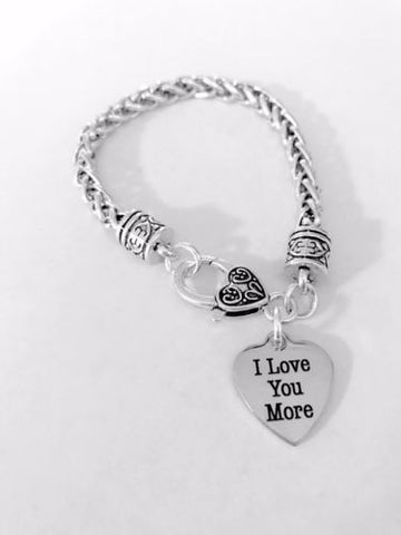I Love You More Heart Mother's Day Gift Wife Girlfriend Mom Charm Bracelet