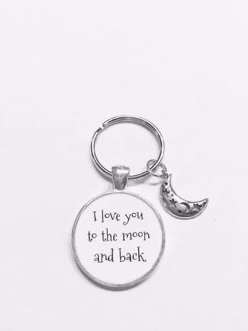 I Love You To The Moon And Back Crescent Moon Friend Sister Mom Gift Keychain