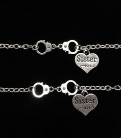 2 Bracelets Sideways Handcuff Partners In Crime Sister Friendship Set