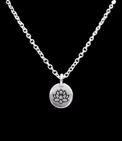 Lotus Flower Charm Ohm Knowledge Life Peace Karma Necklace