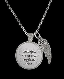 Butterflies Appear When Angels Are Near, Guardian Angel Wing, Quote Necklace